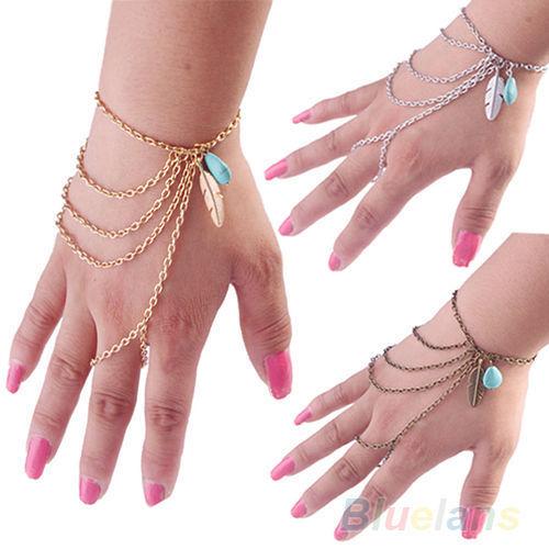 Vintage Bohemian Boho Leaf Turquoise Slave Hand Chain Bracelet Harness Tassel AF