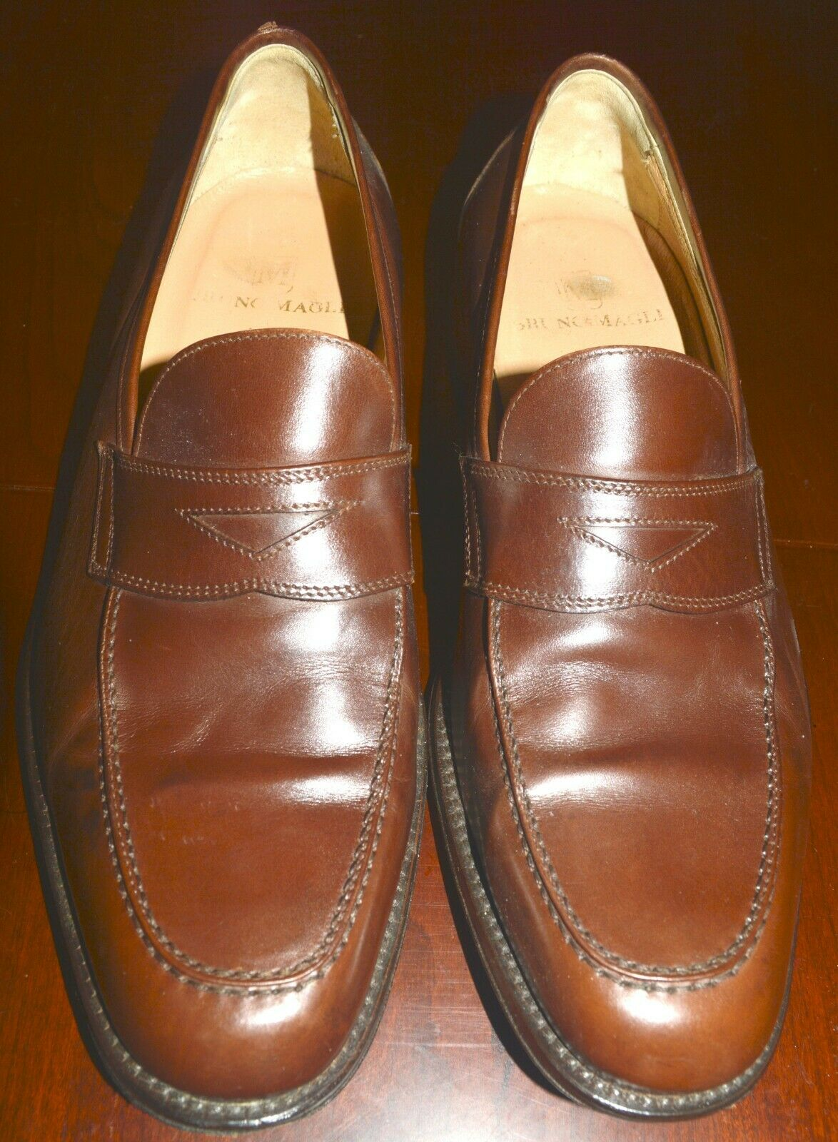 BRUNO MAGLI Vintage Mens Shoes Size 11 M Penny Loafers Brown Leather IVY Italy