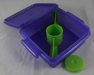Tupperware-Lunchbox-mit-Teiler-inkl-kleiner-Behaelter-Lila-Violett-Gruen-Neu-OVP