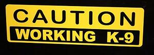 Caution Working k-9 decal (Yellow) Police Dog canine German Shepard Sticker