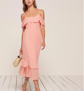 128d825cc864 Sexy Reformation Odessa Dress Blush Pink Off Shoulder Brand New Size ...