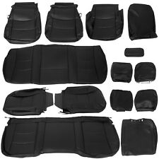 Black Front Amp Rear Seat Covers Leather For 2013 2018 Ram 1500 2500 3500 Crew Cab