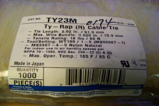 "Thomas /& Betts TY232M 8/"" 18lb Natural 1,000//bag"