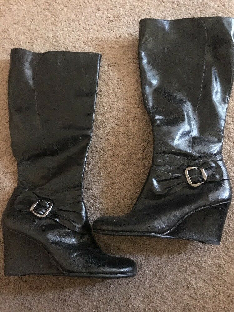 Womens Size 12 Aerosoles Tall Wedge Boots-extra Zipper For Thick Calves