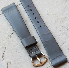 Dark grey Saddle Leather 18mm vintage watch band 1950/60s tapers to 13mm buckle