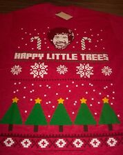 Bob Ross Happy Little Trees Ugly Christmas T Shirt Adult Xl 2xl Red