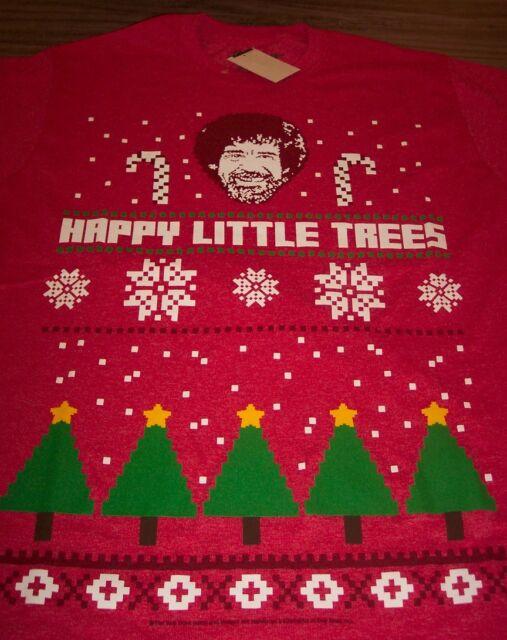 Bob Ross Happy Little Trees Christmas Sweater Style T Shirt Large Ebay