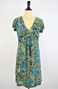 INC-International-Concepts-Teal-Paisley-Empire-Travel-Knit-Pullover-DRESS-S-4-6