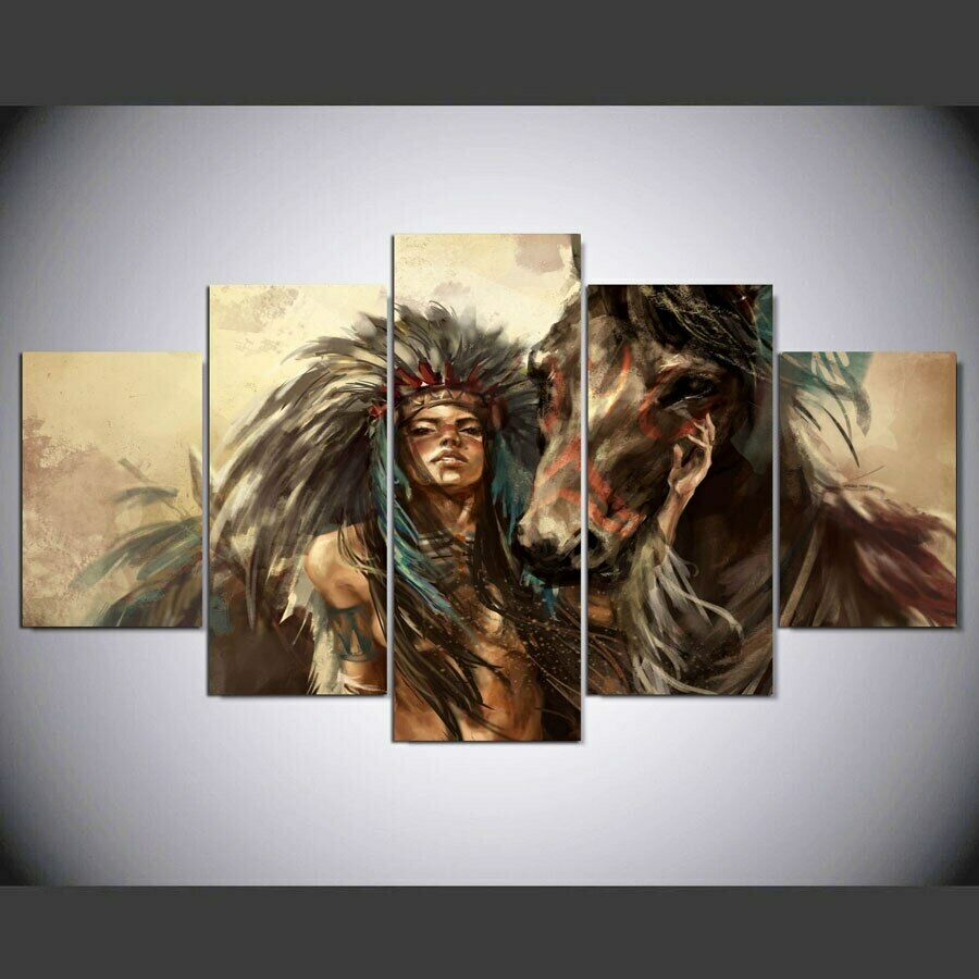 Native Indian Girl Horse 5 Pieces Canvas Wall Art Poster Print Home Decor