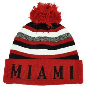 Miami Pom Pom Cuffed Toque Red White City State Town Beanie Knit Striped Skully