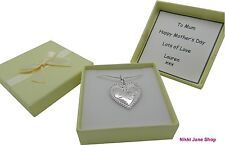 Love Heart Mum Charm Necklace Silver Mum Mother's Day Personalised Gift Box