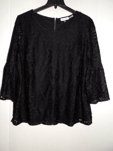 4af4ea1e0da WTC2302 Calvin Klein Women s Plus Lace Bell Sleeve Top NWT Size 1X MSRP  89