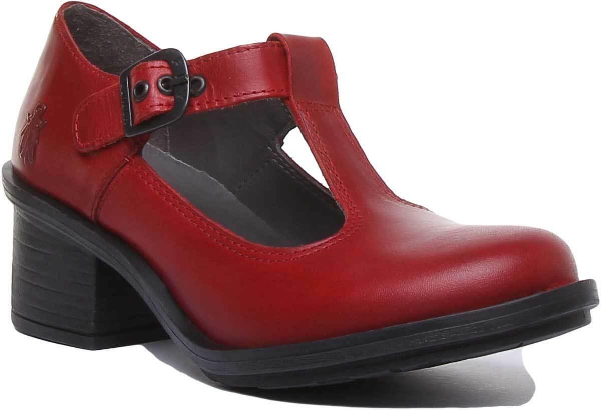Fly London damen Leather Heeled Mary Jane schuhe In rot Größes UK 3 - 8