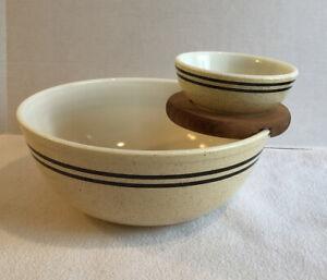 Vintage Pyrex Speckled Lines Chip & Dip Set Snack Complete Tan Brown Stripe HTF