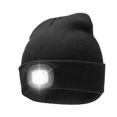 UNISEX WARM BEANIE HAT LED RECHARGEABLE USB HEAD TORCH LIGHT CAMPING CYCLING