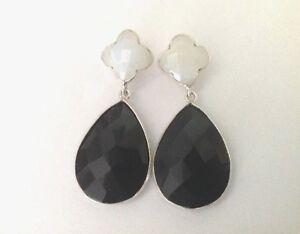 Sterling-Silver-Moonstone-amp-Black-Onyx-Earrings