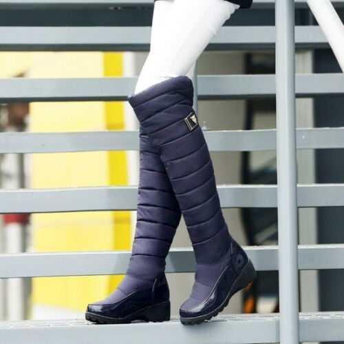 New Women Thigh High Boots Winter Snow Boots Round Toe Over The Knee Boots 4-13