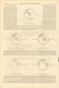 1871 ANTIQUE PRINT - THE TOTAL SOLAR ECLIPSE OF DEC 12