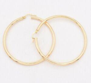 2-1-4-034-2-5mm-X-55mm-Large-Shiny-Plain-Hoop-Earrings-REAL-10K-Yellow-Gold