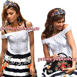 a6e412d794 Dolce   Gabbana Off The Shoulder Lace-Up White Cotton Bustier Corset ...