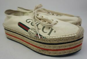 32e8021d042 Image is loading Gucci-Convertible-Logo-Espadrille -Ivory-Platforms-Women-039-