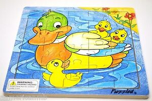 DUCK-BABY-20-pc-Jigsaw-Wood-Puzzle-8-034-x8-034-Educational-Toy-Wooden-Wooden-Game
