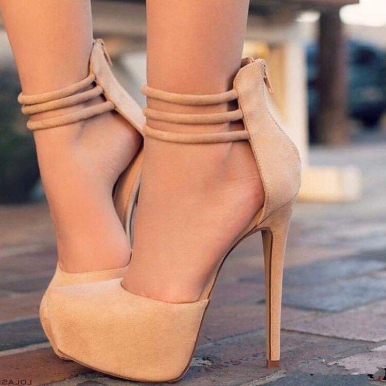 Para mujeres Zapatos de de de salón Taco Alto De Gamuza Tacón Alto Sandalias Club nocturno Fiesta Zapatos con cremallera en la espalda  punto de venta de la marca