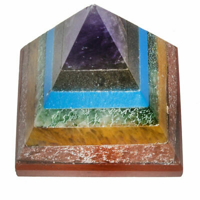 Set Of 5 Seven Chakra Healing Vastu Meditation Gemstone Pyramid Size 1 Inch