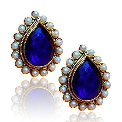 Ethnic India Bollywood Stud Earring-Deep coloured stone with a pearl border ha82