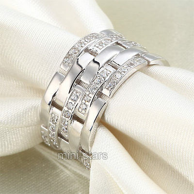 Created Diamond Wedding / Anniversary 1 cm Band Sterling 925 Silver Ring FR8005