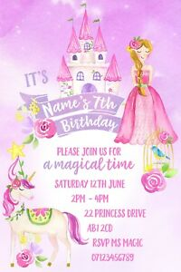 Princess-Unicorn-Magical-Party-Personalised-Invitations-and-Envelopes-x-10