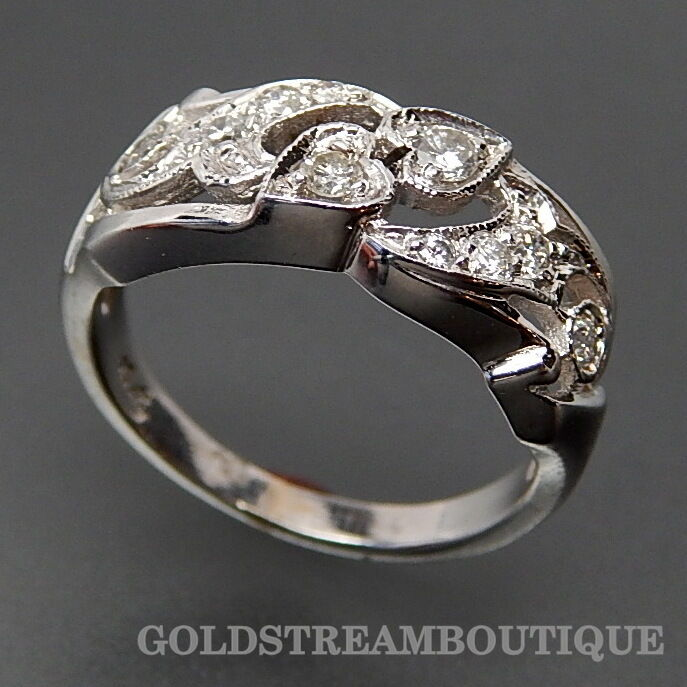 MARVELOUS 14K WHITE gold 0.45 TCW DIAMONDS BYPASS HEARTS RING SIZE 6.25