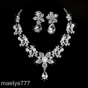 pas cher pour réduction pas cher à vendre 100% de qualité Détails sur parure bijoux strass et perle collier, boucle d'oreille mariage  cérémonie soirée
