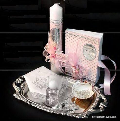 Spanish Handmade Christening//Baptism Set Candle Bible Rosary Bautizo Pink Girl *
