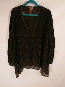 Johnny-Was-Women-039-s-Size-1X-Long-Sleeve-Embroidered-Lace-Tunic-Top