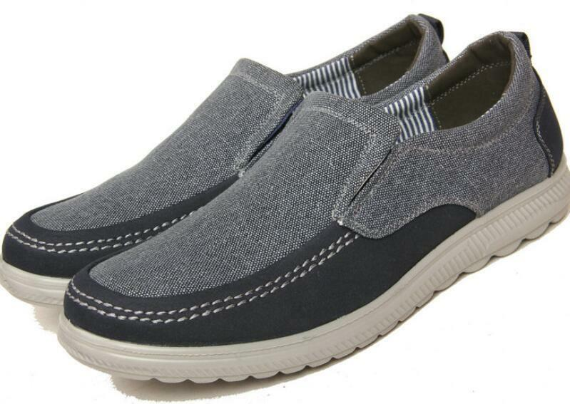 New Mens Flat Slip On Loafers Comfortable Breathable Casual Canvas Driving shoes