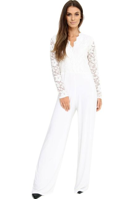 d34221fc4252 UK Womens Evening Party Playsuit Ladies Lace Long Jumpsuit Plus Size ...
