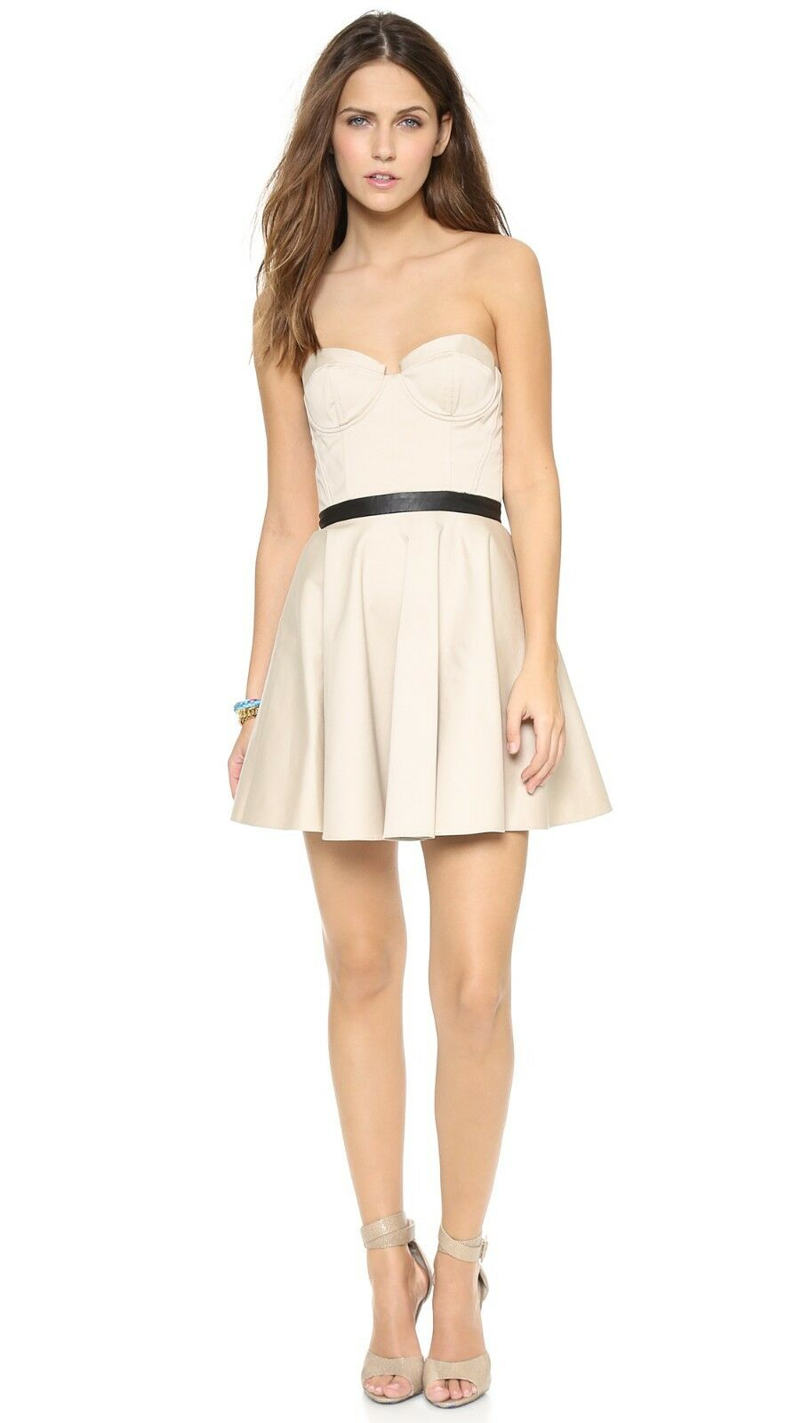 396 396 396 New Alice + Olivia Simoes Strapless Bustier Mini Dress 10 Stone a56f2c
