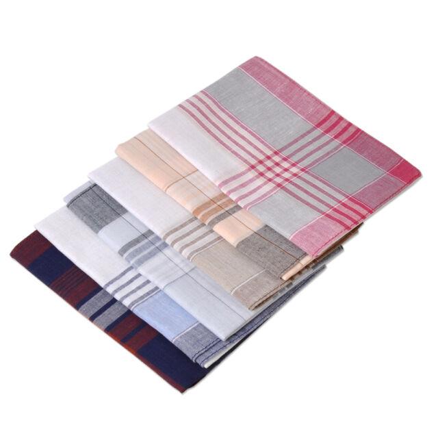 New 6pcs Pattern Vintage Mens Pocket Hanky Square Classic Cotton Handkerchiefs