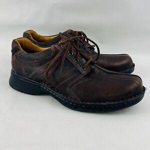 Hommes-9-m-Clarks-Unstructured-Un-Bobine-Oxford-En-Cuir-Marron-Lacets-Decontractees-Chaussures