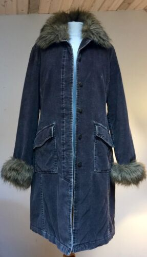 Bust Trim Fur Quilted Med Brown Preloved Coat Corduroy Detachable 36