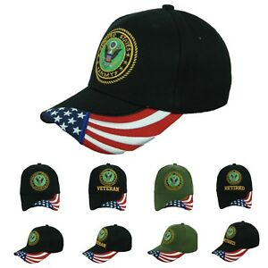 21996493337431 USA Army Baseball Cap US Flag Army Veteran Retired Hats CAMO Hat ...