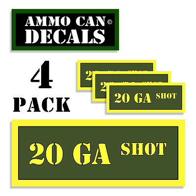 "20 GA SHOT Ammo Can Labels  Ammunition Case 3/""x1.15/"" stickers decal 4 pack BLYW"