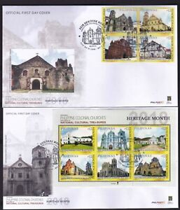 Philippines-2018-Colonial-CHURCHES-Heritage-month-4v-S-S-on-2-First-Day-Cover