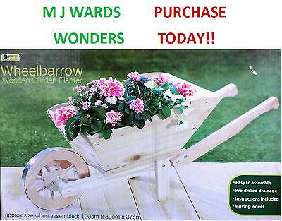 Wheelbarrow - Wooden Garden Planter - 100cm x 39cm x 37cm ** PURCHASE TODAY **
