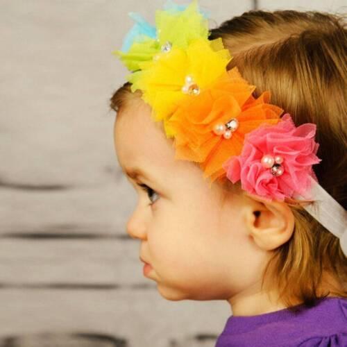 Fashion Baby Girls Headband Lace Imitation Pearl Elastic Rainbow Tiara Hairband