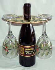 Handpainted Wood Wine Butler/Holder 2 Matching Glasses, Red Holiday Berry Design