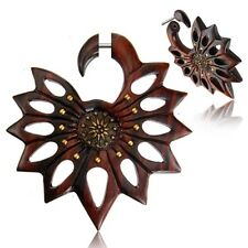 """PAIR 18G SONO WOOD FAUX FAKE CHEATER PLUGS BRASS 2"""" INCH GAUGES TALONS"""