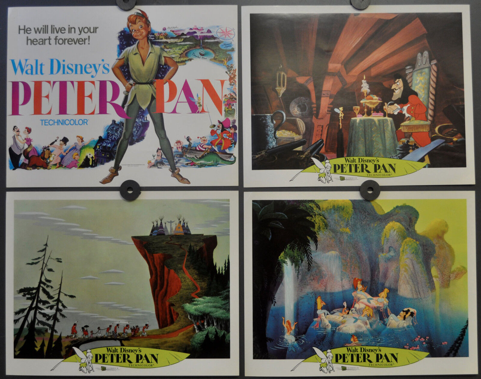 Peter Pan R-1976 Orig 11X14 Komplett Lobby Set Bobby Driscoll Kathryn Beaumont
