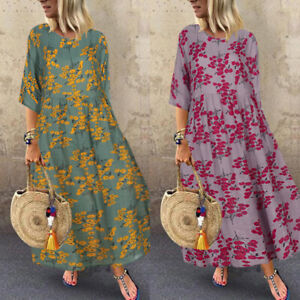 ZANZEA-Women-3-4-Sleeve-Floral-Print-Casual-Long-Shirt-Dress-Midi-Dress-Kaftan